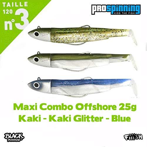 - Fiiish LEURRE Souple Maxi Combo Black Minnow Natural 25G KAKI - KAKI PAILLETE - BLEU - 12, 25, 3
