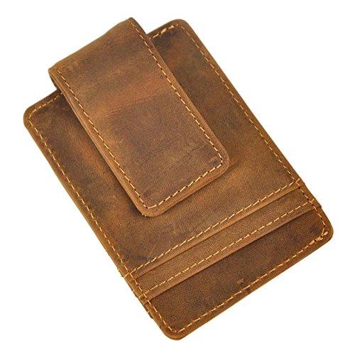 (Le'aokuu Mens Genuine Leather Cowhide Money Clip Credit Card Case Handy Slim Wallet Magnet (Light Brown W1058))