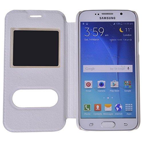 Galaxy J5 Funda,COOLKE [Rose] Ultra Delgado Flip Folio View Window Funda Carcasa Protective Case Cover Para Samsung Galaxy J5 Blanco