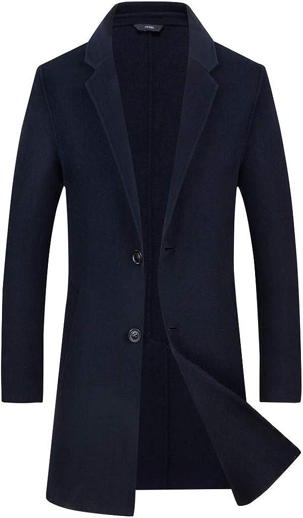 OMINA Mens Winter Long Business Trench Coat Slim Fit Black Casual Woolen Pea Coat Windproof Suit Outwear Jacket