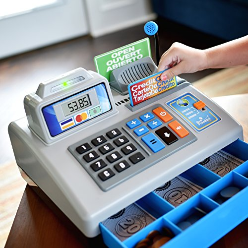 518TK RLucL - Ben Franklin Toys Talking Toy Cash Register - store learning play set with 3 languages, paging microphone, credit card, bank card and play money