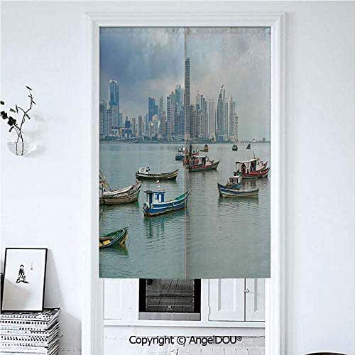 AngelDOU Landscape Printed Good Fashion Fun Door Curtains Anchored Fishing Boats Skyscrapers Panama Cityscape Pacific Coast Central America for Bathroom Kitchen Door Windows Valance 39.3x59 inches
