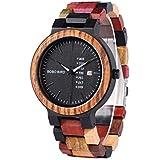 Men's Colorful Wooden Watch, Week & Date Display Quartz Watches Handmade Casual Wood Wrist Watch