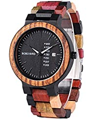 Mens Colorful Wooden Watch, Week & Date Display Quartz Watches Handmade Casual Wood Wrist Watch