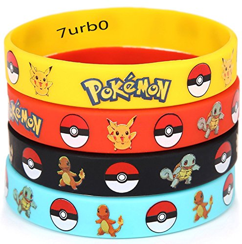 12 PCS Pokemon Rubber Bracelets Wristband -Birthday Party Favors Supplies