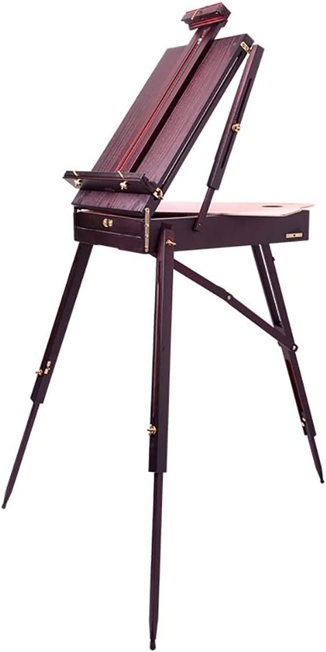 WJ イーゼル- イーゼル、木製の絵の具箱、イーゼルアートポータブル、油絵箱、油絵スタンド、バックパックスタイルの油絵箱。180cmX78cm /-/