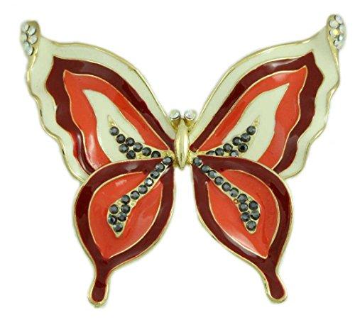 Lilylin Designs Red, Orange, and Cream Enamel Butterfly Brooch Pin