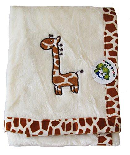 Plush Beige 2 Ply Unisex Baby Blanket, Giraffe Embroidery Design, - Giraffe Baby Blanket