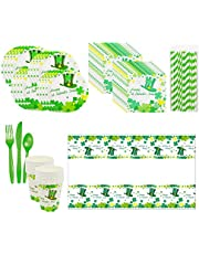CheeseandU St. Patrick's Day Party Supplies-Rainbow Shamrock Dinnerware Bundle | Shamrock Themed Large Plates | Napkins | Knives | Forks | Tablecloth | Paper Cups | Straws for Green-Themed Event Irish Shamrock Tableware Kit