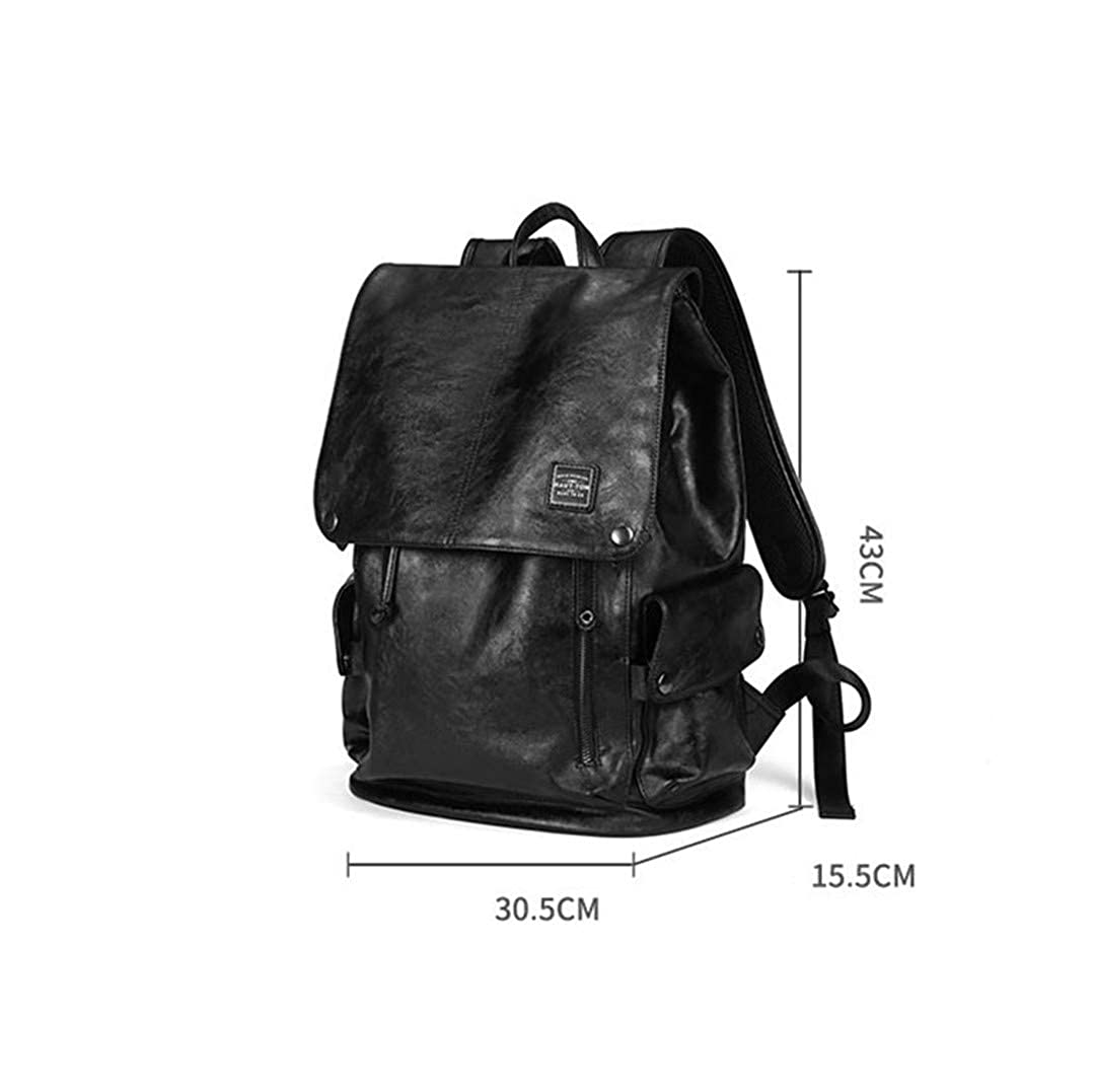 Amazon.com: Men PU Leather Backpack Vintage Daypack Multi Pocket Casual Rucksack Vintage H made Tote Black: Clothing