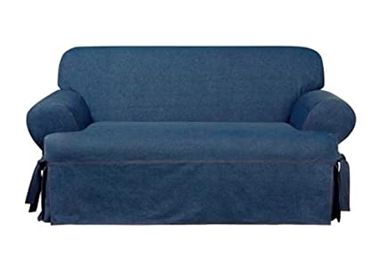 Amazon Com Sure Fit Authentic Denim One Piece T Cushion Loveseat