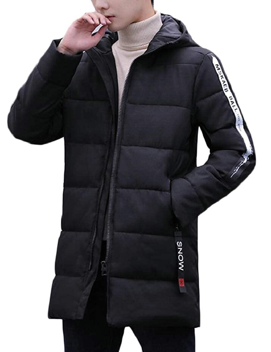 Yayu Mens Warm Mid Long Winter Hooded Padded Zip Thicken Down Jacket Coat