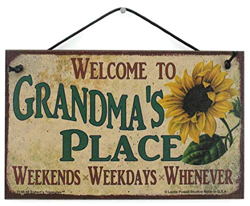 """5x8 Vintage Style Sign with Sunflower Saying, """"Welcome to GRANDMA"""