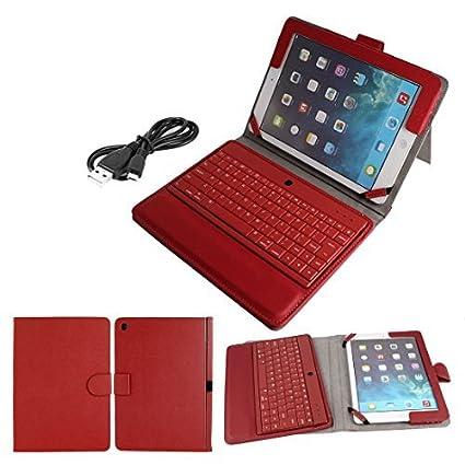 Teclado Bluetooth Bolsa em couro PU Fique Protector vermelha para o iPad Air 5