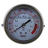 DIGITEN Water Pressure Gauge Meter 0-1.6MPa 0-220psi 3/8 Mounting for Reverse Osmosis System Pump
