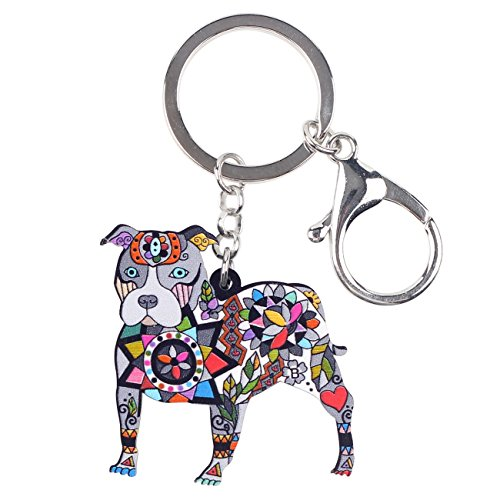 Bonsny Acrylic Pit Bull Dog Key Chains Keyrings for Women Gifts Teens Kids Car Purse Handbag Charm Jewelry - Key Ring Enamel