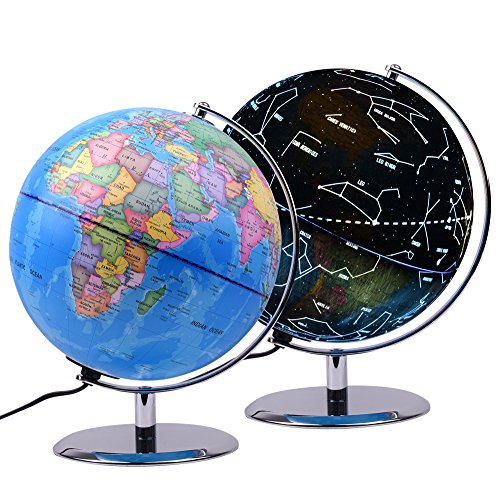 Qwork 9 inch Illuminated Constellation Globe for Kids, 3-in-1 Educational World Globe for Kids, with Safe Steady Steel (Constellation Illuminated Globe)