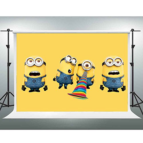 7x5ft Minions Backdrop Yellow Cartoon Animation Photography Background for Children Birthday Themed Party Baby Shower Background Photo Studio Booth Shooting Props LXGE224 -