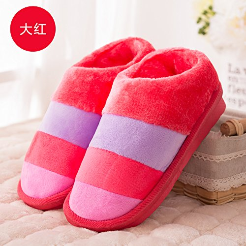 Fankou inverno pacchetto comfort con Dot scarpe di cotone uomini e donne paio di pantofole di cotone home pianale interno caldo ,36-38, pacchetto a strisce marrone con