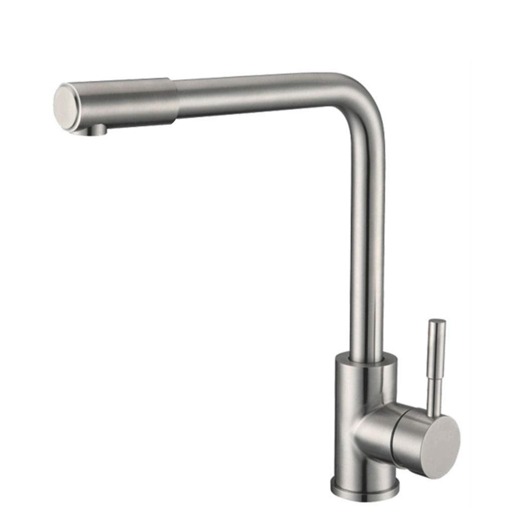 JXLBB Pullable Kitchen Faucet Hot And Cold Rotatable Retractable Stainless Steel Faucet Lead-free Drawing Single Hole
