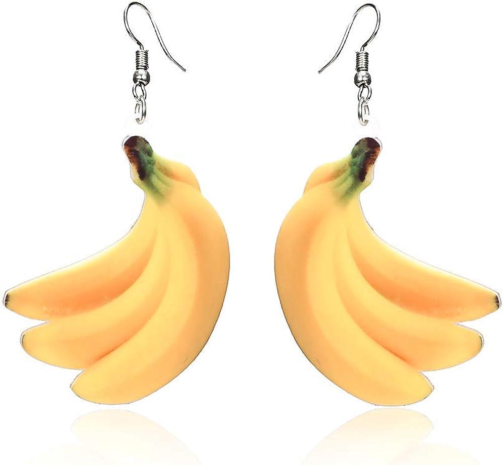 andy cool Fruit Earrings Food Dangle Orange Drop Earrings for Women Girl Acrylic Peach Earring Grape Coconut Tree Mango Cantaloupe Jewelry -Banana