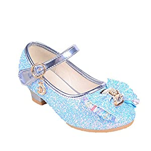 coollight Girl's Rhinestone Glass Slipper Heels Princess Crystal Shoes(Blue 34/2.5 M US Little Kid)