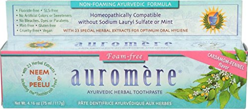 Ayurvedic Herbal Toothpaste Foam-free Cardamom-Fennel by Auromere - Fluoride-Free, Natural, with Neem, Vegan and Sulfate-Free - 4.16 -