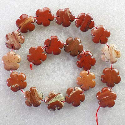 FidgetKute A Strand Carved Mixed Stone Flower Loose Bead 15.5 inch Lx50(Randomly Send) Red Jasper