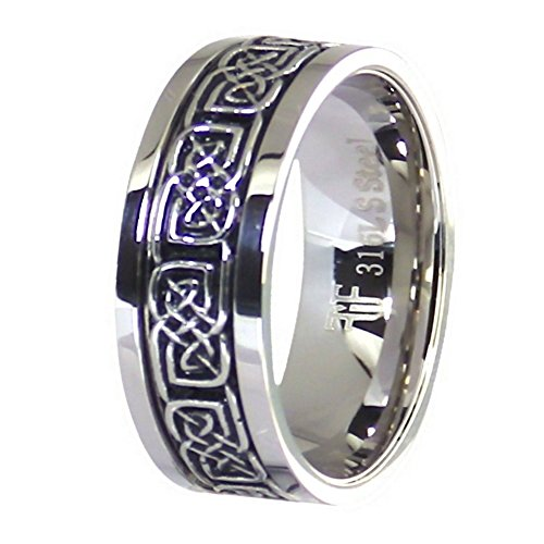 Fantasy Forge Jewelry Celtic Knot Spinner Ring Stainless Steel 8mm Comfort Fit Band Size 10