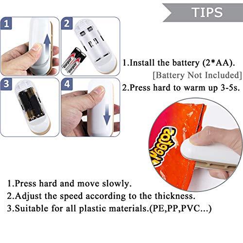 Folienschweißgerät, Mini Bag Sealer, Hand-Folienschweißgerät, Mini Folienschweißgerät Handlicher Tüten Verschweißer, 2 in 1 Tüten luftdicht Verschließen, Batteriebetrieben (Batterie Nicht enthalten)