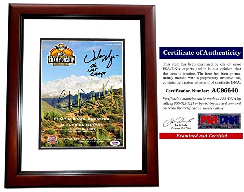 Urban Meyer and Chris Leak Signed - Autographed OFFICIAL 2006 National Championship Program Cover - UF Gators vs OSU Buckeyes - MAHOGANY CUSTOM FRAME - PSA/DNA Certificate of Authenticity (COA)