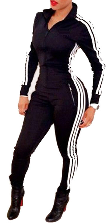 - 518TNAVEJ9L - LaCouleur Women's Striped Long Sleeve Zip Up Sport Bodycon Jumpsuit Romper Zentai Bodysuit Unitard