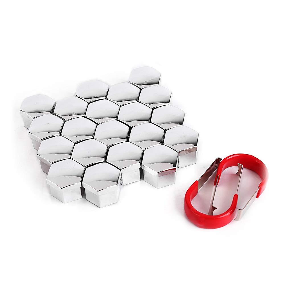 Yililay - Protector Hexagonal para Cabeza de Tuerca de Rueda, 17 mm, Plateado, 20 Unidades, Incluye 2 Piezas de Herramientas de extracción universales para ...