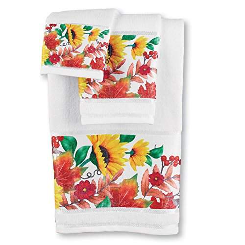 (Collections Etc Decorative Bath Towel Set with Sunflowers and Berries Design for Kitchen and Bathroom, White Background with Yellow, Orange, Green, Red Fall Décor Accents, 3 pc)