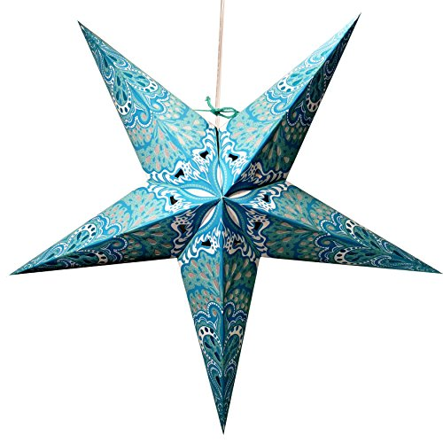 12' Paper Lanterns (Turquoise Charm Paper Star Lantern with 12 Foot Power Cord Included)