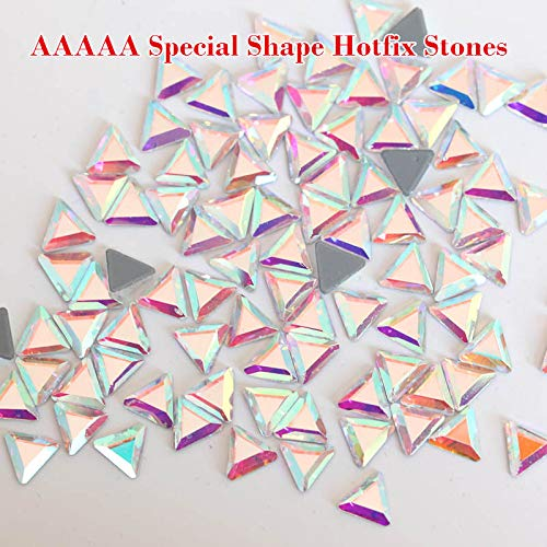 (100Pcs Special Shapes Rhinestone for Crafts-Hot Fix Rhinestones for Wedding Dress-Mixed Shape Rhinestones Hot Fix-Hotfix Flatback Rhinestones Iron on Glue Glass-Crystal Rhinestone (Stra)