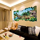 Witkey Wall View The Resistance Of The Dinosaurs 3D View Series Stereoscopic Removable Kids Room Nursery Room Living Room Decals Wall Sticker Art DIY Mural