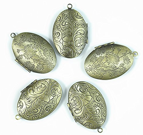 Brass Oval Pendant - ALL in ONE Antique Bronze Vintage Brass Photo Locket Pendant (Oval)