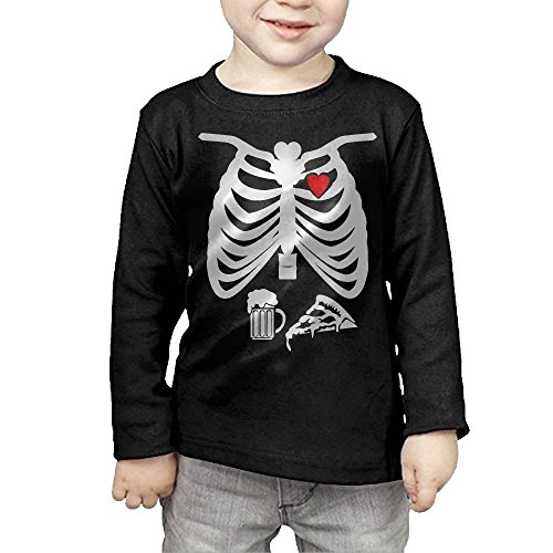 CD-BK03 Skeleton Maternity Pizza & Beer Girl Boys' Long Sleeve Essential T Shirt (Skeleton Maternity Shirt Iron On)