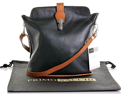 Italian Soft Leather Small Black and Tan Cross Body or Shoulder Bag Handbag. Includes a Branded Protective Storage Bag