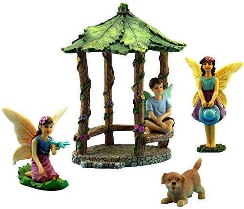PRETMANNS Fairy Garden Fairies - Miniature Accessories - Fairy Figurines with Boy Fairy & Dog - Gazebo Fairy Garden Kit - 5 Pieces - Fairy Garden Supplies - Miniature Fairy Gardens