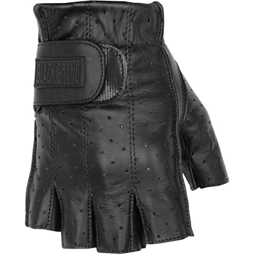 - Black Brand Men's Leather Classic Shorty Motorcycle Gloves (Black, X-Large)