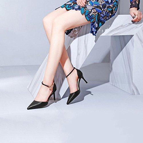 à Élancés Profonde pour Chaussures La Chaussures Chaussures Talons Saison Simples à Cheville Femmes à Bouche DKFJKI Creuse Cuir Peu Pointues Hauts Sangles Black La 6qOtwq0f5