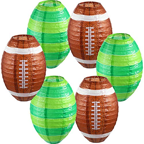 6 Pieces Football Paper Lanterns Decorations Football Game Party Lantern Hanging American Football Paper Lantern Set for…