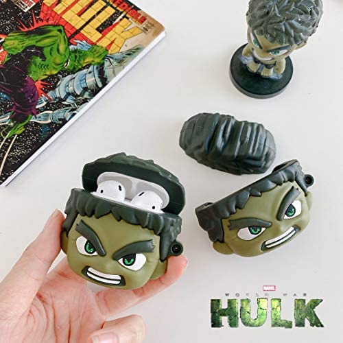 Marvel Superheros Hulk AirPods Case Protective Cover Soft Silicone Shockproof for Apple AirPods Pro, Avengers 3D Bag Pendant Decor Keychain Airpod Case (Hulk Airpods Pro) 518TOYbh7cL