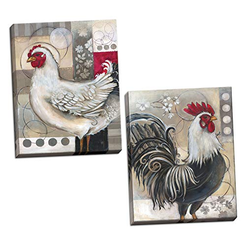 Gango Editions 2 Popular Retro Rooster and Chicken Set; Kitchen Decor; Two 11x14 Hand-Stretched Canvases. Red/Black/White/Grey