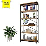 Cheap shaofu 5-Tier Industrial Style Bookshelf and Bookcase, Vintage 5-Shelf Industrial Bookshelf Furniture (US Stock)