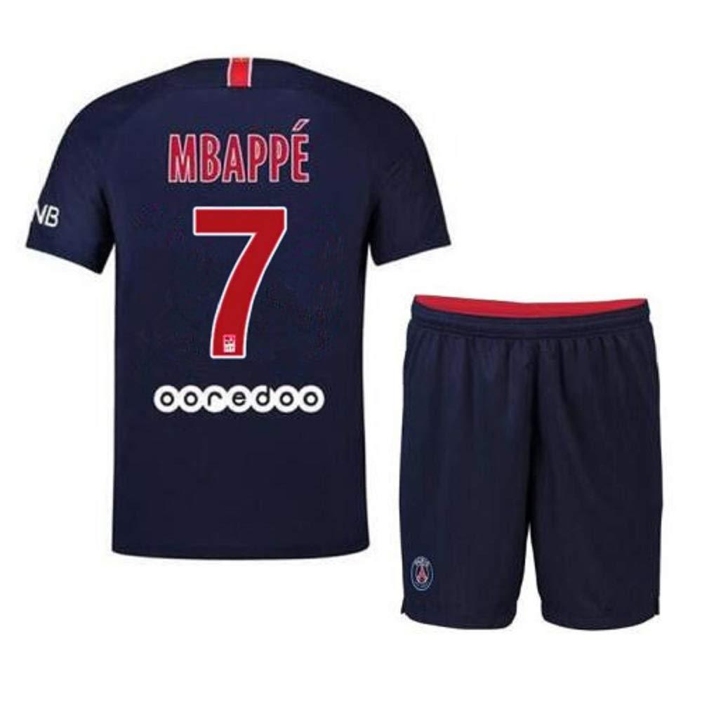 Bamerand Youth Mbapp/é Jerseys Saint-Germain # 7 Kids Soccer Jersey 2018//2019 Home Shorts