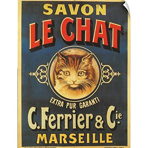 CANVAS ON DEMAND Vintage Apple Collection Wall Peel Wall Art Print Entitled Savon Le Chat - Vintage Soap Advertisement 12