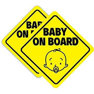 BabyPop! 2 Pack Baby On Board Magnet Sign for Car, Magnetic and Reflective Safety Cute Design 2 Pack by BabyPop!